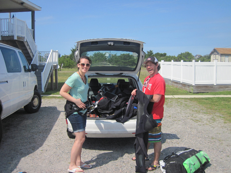 Nisk and Ashley getting ready for kiteboarding lessons