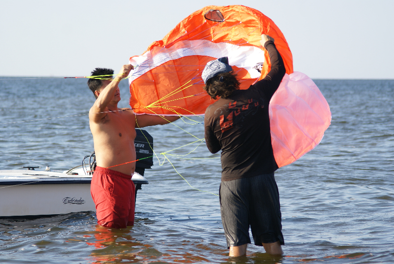 Shallow water kiteboarding lessons