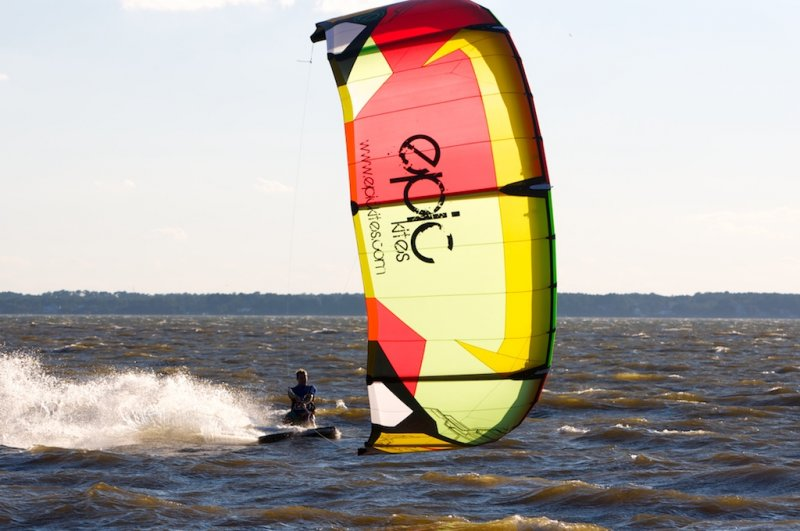 Kiteboarding in front of Manteo water front, NC