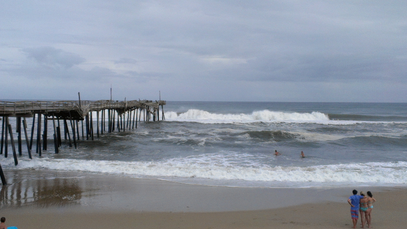 Bertha, big surf at Frisco Pier, Cape Hatteras