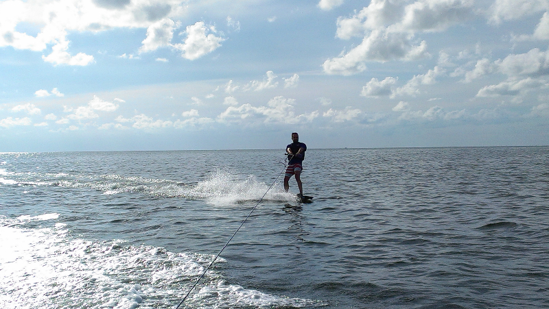 Flat water Sunday - time for some wakeboarding
